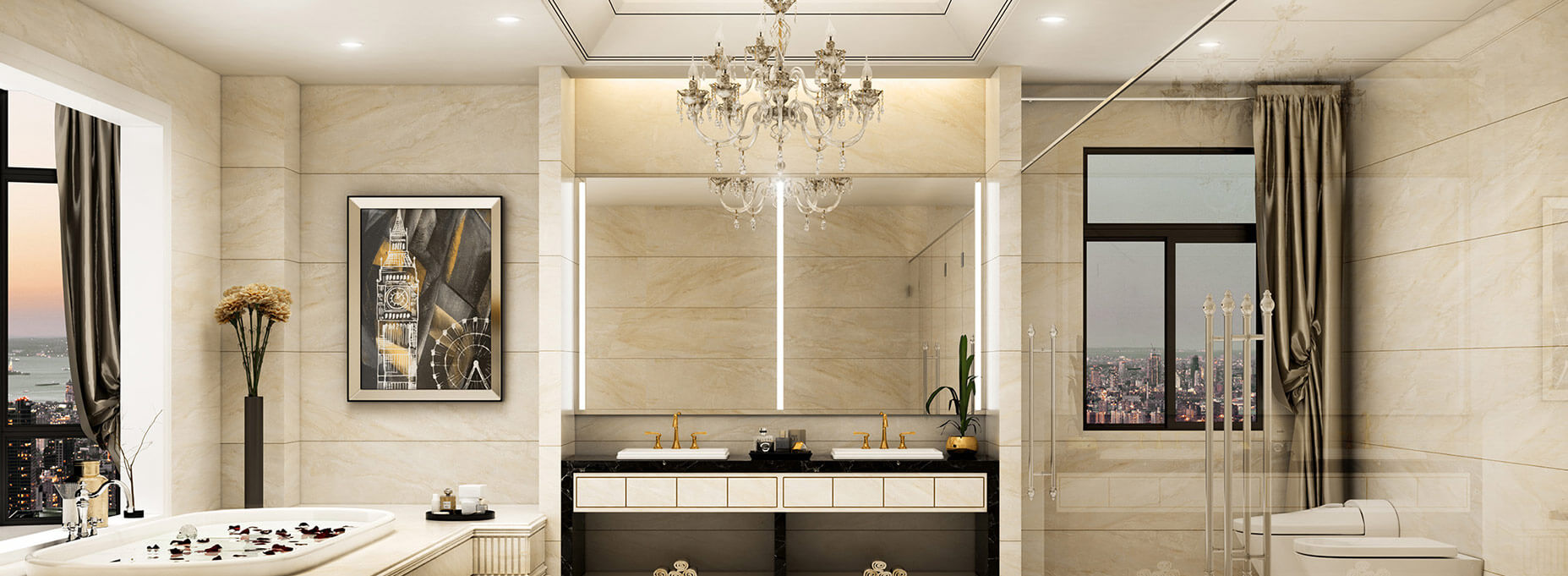Lighted LED mirrors completely made to size for interior designers.